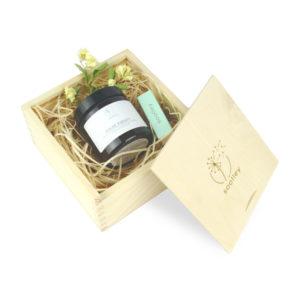 soolley elegancki zestaw prezentowy w drewnianym pudełku świeca sojowa i zapałki