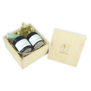 soolley elegancki zestaw prezentowy w drewnianym pudełku 2 świece sojowe oraz zapałki