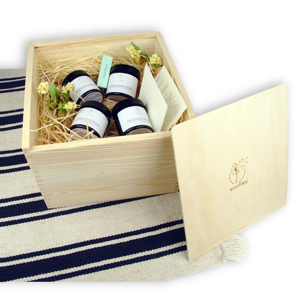 soolley zestaw świeczek zapachowych na prezent w drewnianym pudełku z czterema świecami sojowymi