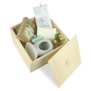 soolley zestaw prezentowy kominek, woski zapachowe i tealight w drewnianym pudełku